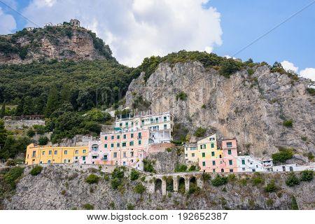 Colorful buildings on the cliff on Amalfi coast Campania Italy