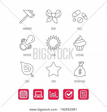 Money bag, star and bow icons. Leaf, pacifier and sun linear signs. Cupcake, pills and hammer flat line icons. Report document, Graph chart and Calendar signs. Laptop and Check web icons. Vector