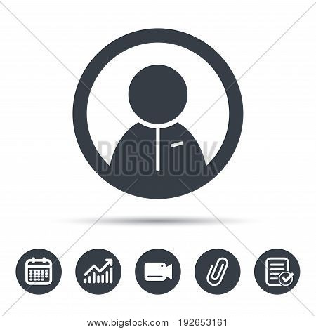 User icon. Human person symbol. Calendar, chart and checklist signs. Video camera and attach clip web icons. Vector