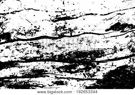 Obsolete natural wood vector texture. Lumber board monochrome texture. Black grit on transparent backdrop. Distressed overlay for vintage effect. Old weathered timber surface with cracks. Tree texture