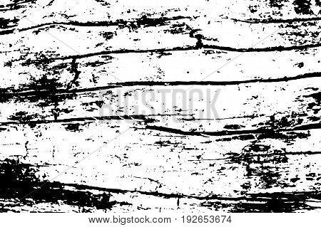 Obsolete cracked wood vector texture. Lumber board monochrome texture. Black grit on transparent backdrop. Distressed overlay for vintage effect. Old weathered timber surface with noise. Tree texture