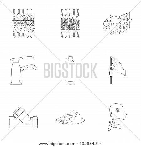 Set of icons on the theme of water. Water is the most important in the world. water filtration icon in set collection on outline style vector symbol stock web illustration.