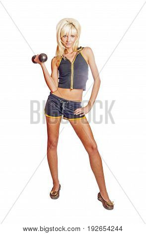 Young woman exercising standing on the floor isolated on white