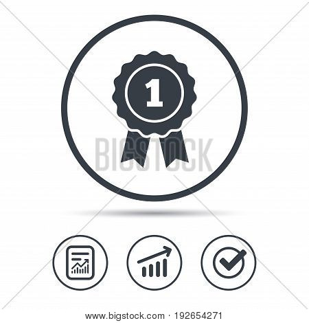 Winner medal icon. Award emblem symbol. Report document, Graph chart and Check signs. Circle web buttons. Vector