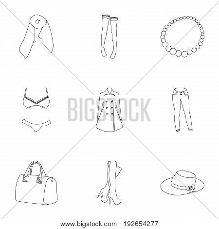Pictures about types of women's clothing. Outerwear and underwear for women and girls. Woman clothes icon in set collection on outline style vector symbol stock web illustration.