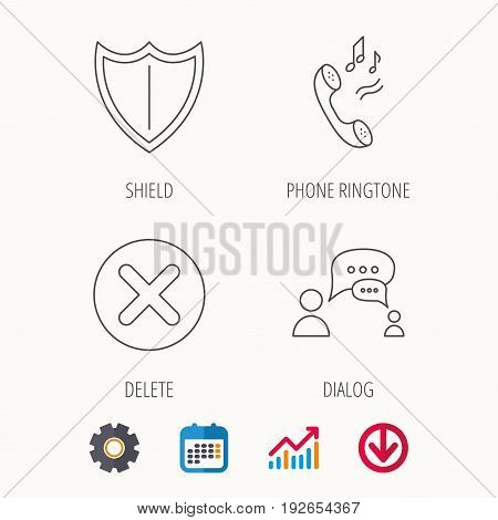 Phone ringtone, delete and chat speech bubble icons. Shield linear sign. Calendar, Graph chart and Cogwheel signs. Download colored web icon. Vector
