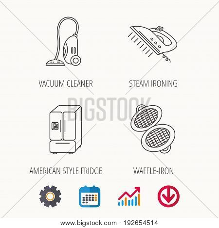 Vacuum cleaner, steam ironing and waffle-iron icons. American style fridge linear sign. Calendar, Graph chart and Cogwheel signs. Download colored web icon. Vector