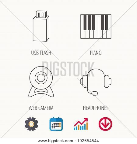 Web camera, headphones and Usb flash icons. Piano linear sign. Calendar, Graph chart and Cogwheel signs. Download colored web icon. Vector