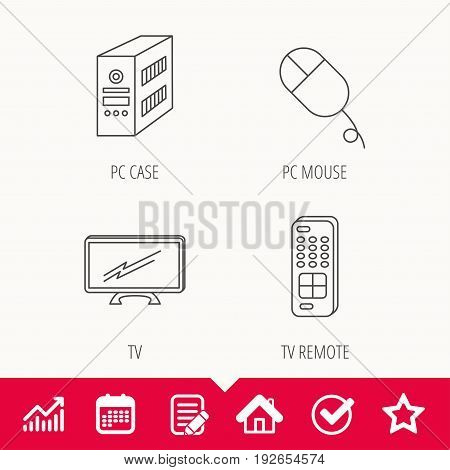 PC mouse, TV remote and computer icons. Widescreen TV linear sign. Edit document, Calendar and Graph chart signs. Star, Check and House web icons. Vector