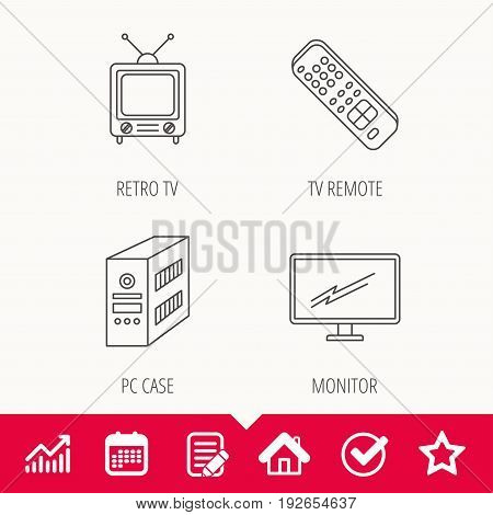 Retro TV, PC case and monitor icons. TV remote linear sign. Edit document, Calendar and Graph chart signs. Star, Check and House web icons. Vector