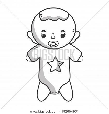 line baby boy with pacifier and hairstyle vector illustration