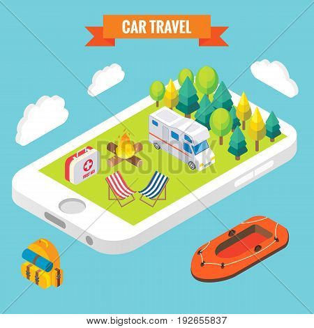Car travel isometric objects on mobile phone screen. Vector illustration in flat 3d style. Outdoor camp activity in a park. Stay online everywhere concept illustration. Travel on camper.