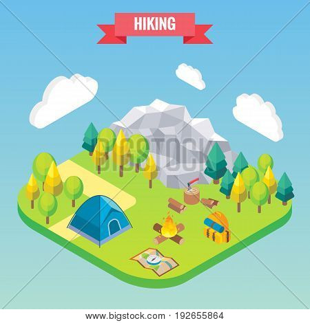 Hiking in mountain forest isometric concept. Vector illustration in flat 3d style. Outdoor activity.
