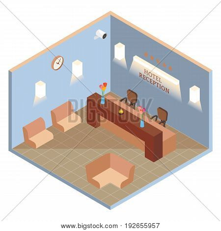 Hotel reception interior in vector isometric style. Illustration in flat 3d design. Hotel lobby room.
