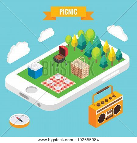 Picnic in a park isometric objects on mobile phone screen. Vector illustration in flat 3d style. Stay online everywhere concept illustration.