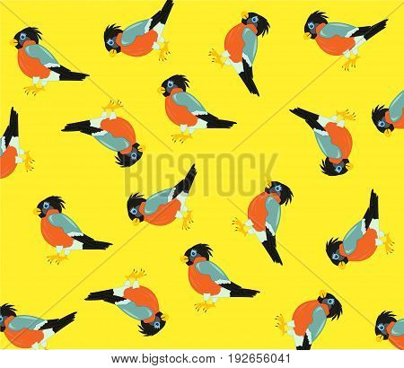 Much birds on yellow background is insulated