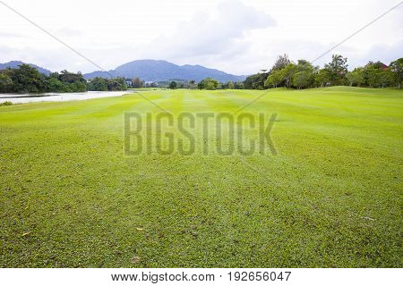 Golf course green grass field and lagoon