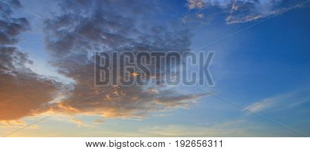 Panorama sunset sky beautiful in twilight time beautiful background