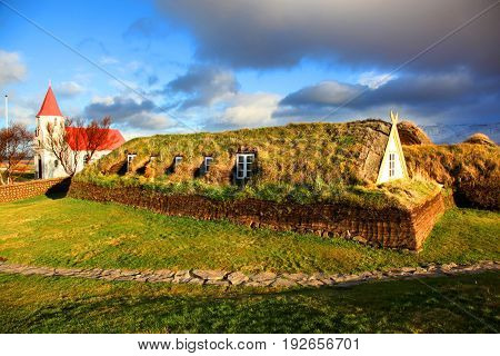 Traditional turf house in Glaumbaer Northern Iceland