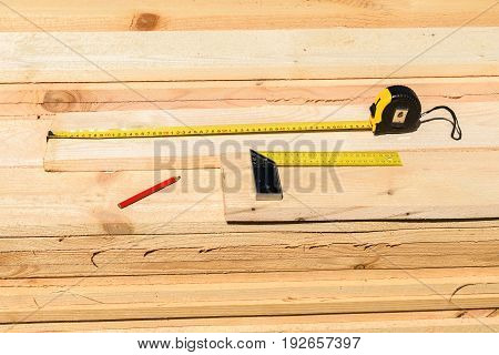 Roulette, Corner Construction And Engineering Pencil Lying On The Boards