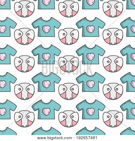 baby diaper thet use unterwear and t-shirt background vector illustration