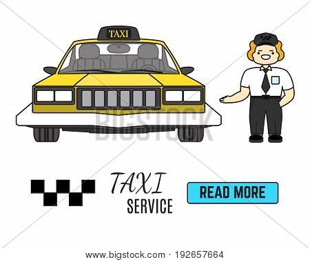 Taxi service banner. Cab driver next to his taxi car. Flat vector illustration in cartoon style.