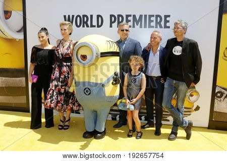 Pierre Coffin, Kyle Balda, Steve Carell, Kristen Wiig and Dana Gaier at the World premiere of 'Despicable Me 3' held at the Shrine Auditorium in Los Angeles, USA on June 24, 2017.