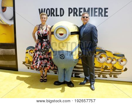 Kristen Wiig and Steve Carell at the World premiere of 'Despicable Me 3' held at the Shrine Auditorium in Los Angeles, USA on June 24, 2017.
