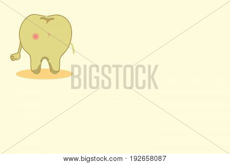 cute cartoon teeth in fitness on the yellow background