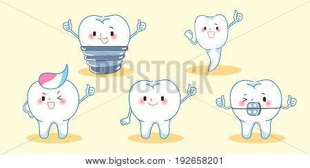 cute cartoon tooth thumb up on the yellow background