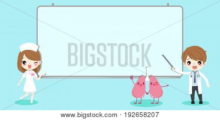 cute cartoon doctor and lung with white billboard