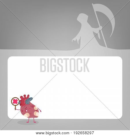cute cartoon heart with health problem concept