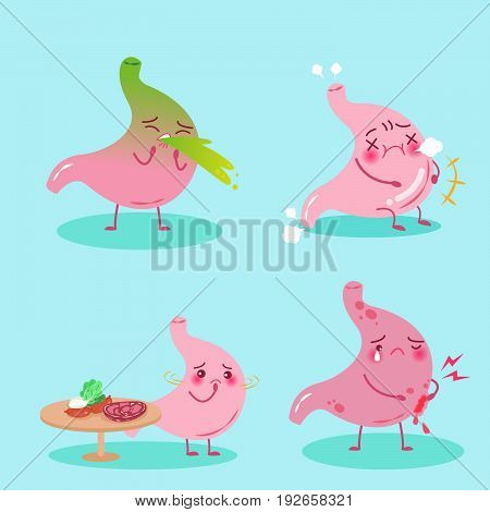 cute cartoon stomach with health problem on the blue background