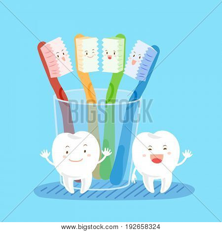 cute cartoon tooth with brush on the blue background