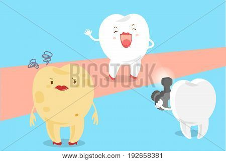 cute cartoon tooth with decay problem and paparazzi on the blue background
