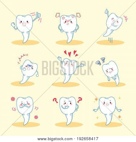 cute cartoon tooth do different emotion with blue background.