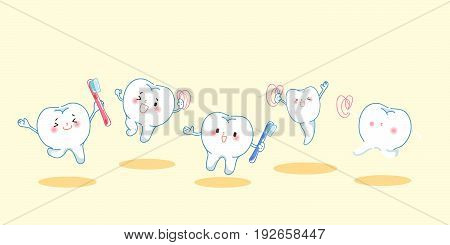 cartoon tooth with dental care on the yellow background