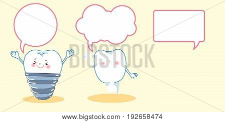 cute cartoon white tooth with speech bubble