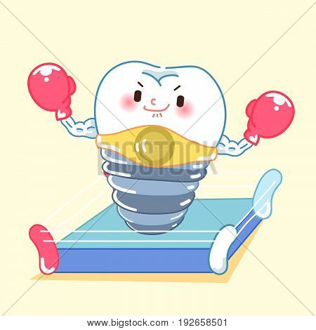 cute cartoon tooth implant with boxing on the yellow background