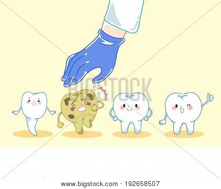 cartoon doctor hand is picking decay teeth