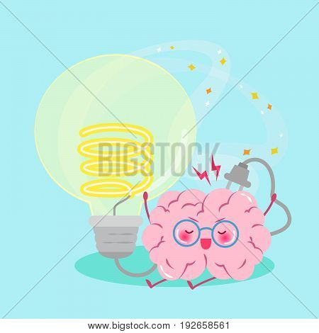 cute cartoon brain with smart concept on the green background