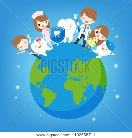 cute cartoon children with tooth on the earth