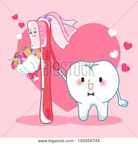 cute cartoon tooth marry with brush happily