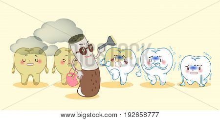 cartoon tooth feel upset with smoke problem