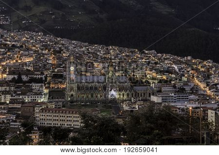 Quito at twilight view from Itchimbia park