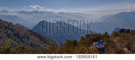 Campground and the Machu Picchu Mountain from the Inca Trail, Peru