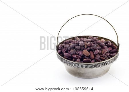 Raw Red Bean In Silver Bowl And On White Background