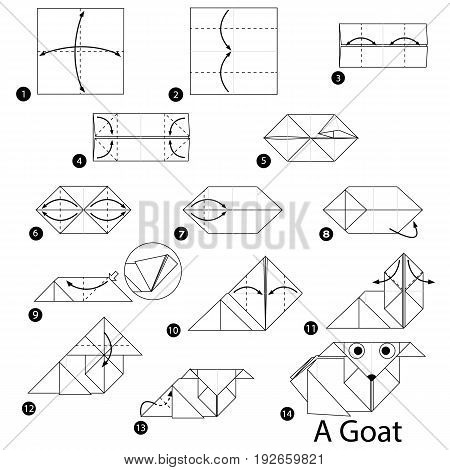 step by step instructions how to make origami A Goat