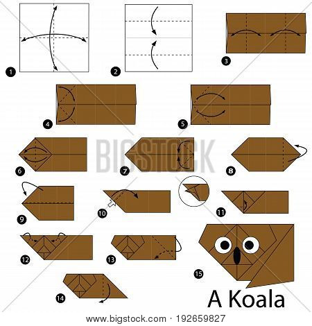 step by step instructions how to make origami A Koala