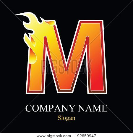 M letter fire logo design template. Vector design template elements for your application or company.